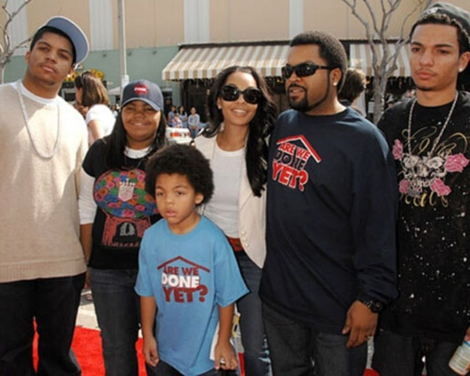Ice Cube with his family including his wife Kimberly Woodruff, sons O'Shea Jackson Jr. and Darrell Jackson and daughter Karima Jackson