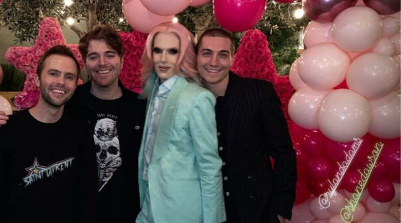 Shane Dawson, Ryland Adams  and  Nathan Schwandt attended Jeffree Star's 34th birthday party.