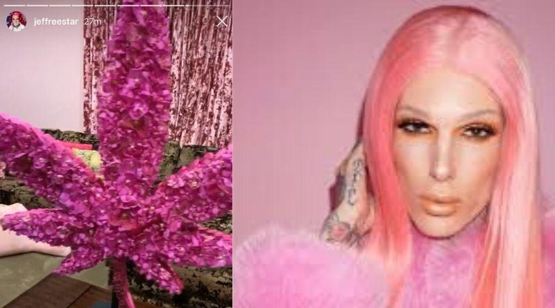 Jeffree  shared a hot-pink marijuana leaf  photo on his birthday on instagram