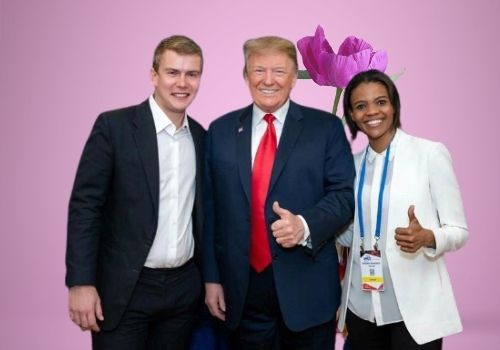 Candace Owens and her husband George Farmer with Donald Trump