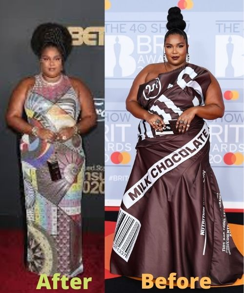 What did Lizzo look like before and after weight loss?